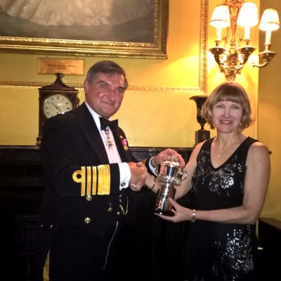 The Admiral presenting Vice Commodore, Cynthia Robinson with Founder Commodore Trophy