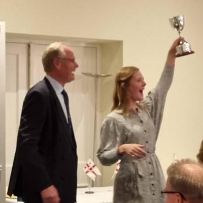 A very happy Natasha Philips receives the Leathersellers Cup.